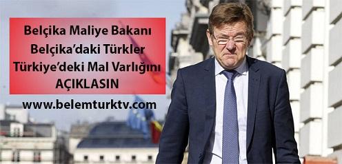 """Belçika Maliye Bakanı Van Overtveldt (NV- A) """"Belçika'daki Türkler, Türkiye'deki mal varlığını açıklasın"""""""