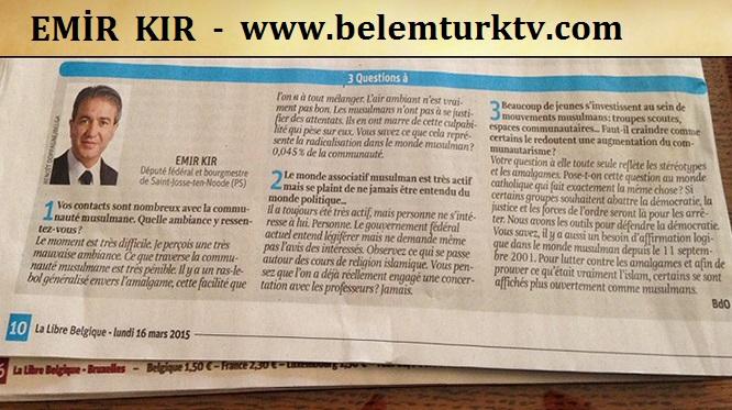 Emir Kır  Belgique Gazetesinde Müslüman Toplumu İle İlgili Soruları Yanıtladı