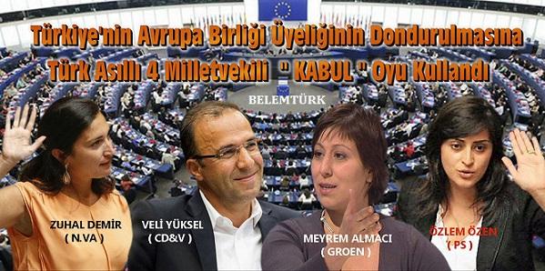 """Belçika Temsilciler Meclisi'nde Türkiye'nin  Avrupa Birliği Üyelik Müzakerelerinin Dondurulmasına, Türk Asıllı 4 Milletvekili """"Kabul"""" Oyu Kullandı"""