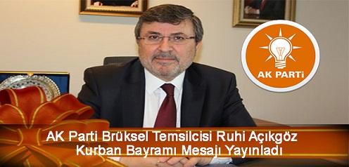 AK Parti Brüksel Temsilcisi Ruhi Açıkgöz Bayram Mesajı Yayınladı