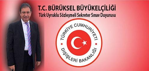 T.C. Brüksel Büyükelçiliği, Türk Uyruklu Sözleşmeli Sekreter Sınav Duyurusu