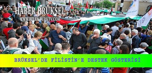 Brüksel'de Filistin'e destek gösterisi