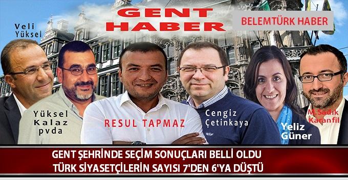 Gent Belediye Seçimlerinde Türk Siyasetçilerin Temsiliyet Sayısı 7'den 6'ya düştü.