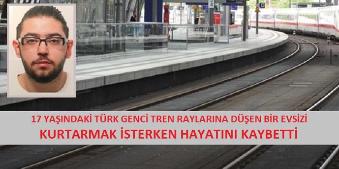 17 yaşındaki Türk genci, tren raylarına düşen bir evsizi kurtarmak isterken hayatını kaybetti.
