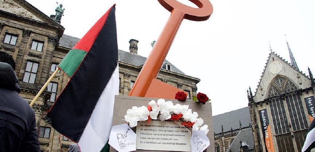 Hollanda'da Filistinlilere Eve 'Dönüş Anahtarı' Anıtı