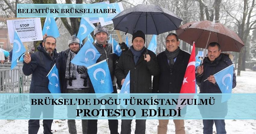 Belçika'nın Başkenti Brüksel'de Doğu Türkistan Zulmü Protesto Edildi