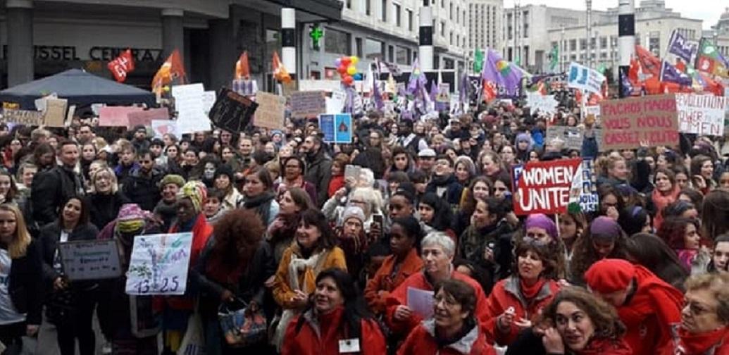 Belçika'nın başkenti Brüksel'de Dünya Kadınlar Günü Yürüyüşü