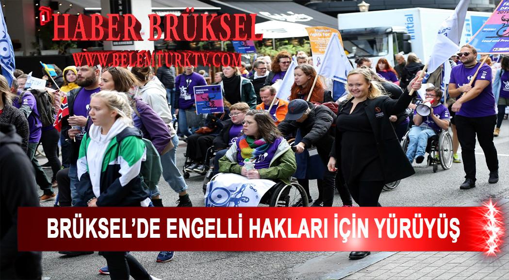 Brüksel'de engelli hakları için yürüyüş