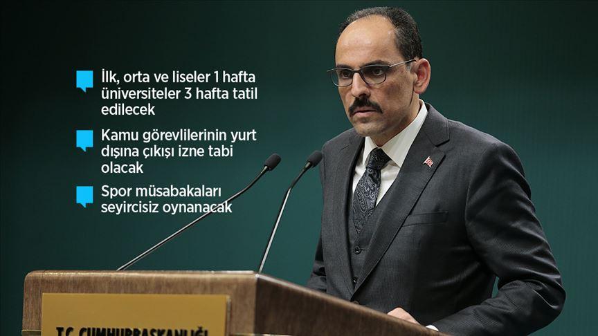 Türkiye'de alınan koronavirüs önlemleri açıklandı