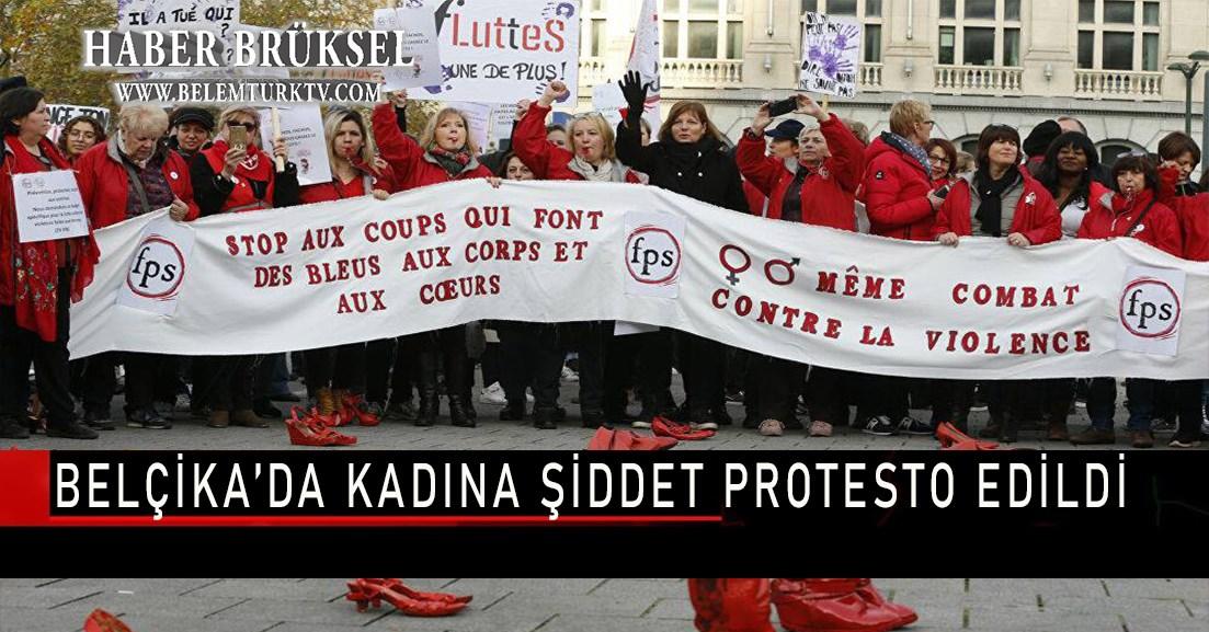 Belçika'da kadına şiddet protesto edildi
