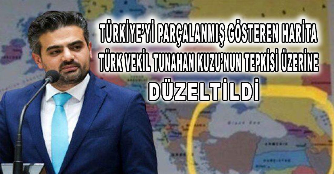 Türkiye'yi parçalanmış gösteren harita, Türk vekilin tepkisi üzerine düzeltildi