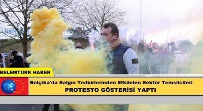 Belçika'da salgın tedbirlerinden etkilenen sektör temsilcileri protesto gösterisi yaptı.