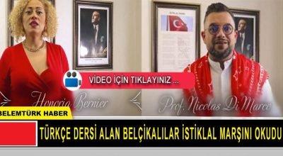 Türkçe dersi alan Belçikalılar İstiklal Marşı'nı okudu