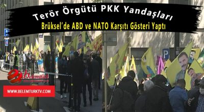 Terör örgütü PKK yandaşları Brüksel'de ABD ve NATO karşıtı gösteri yaptı