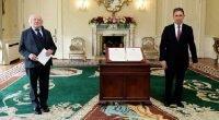 Eski Brüksel Büyükelçisi Hakan Olcay, Michael Daniel Higgins'e güven mektubunu sundu.