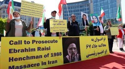 İran'ın yeni Cumhurbaşkanı  Reisi Brüksel'de protesto edildi