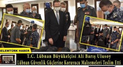 Eski Brüksel Başkonsolosu Büyükelçi Ali Barış Ulusoy, Lübnan güvenlik güçlerine koruyucu malzemeleri teslim etti.