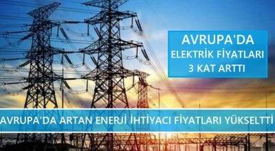 Avrupa'da elektrik fiyatları 3 kat arttı