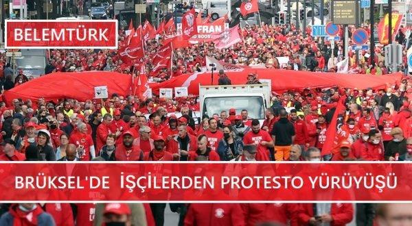 Brüksel'de  işçi ücretlerine zam yapılmasına sınır koyan yasaya protesto!